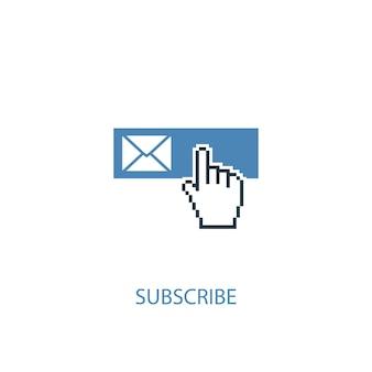 Iscriviti concetto 2 icona colorata. illustrazione semplice dell'elemento blu. iscriviti al design del simbolo del concetto. può essere utilizzato per ui/ux mobile e web
