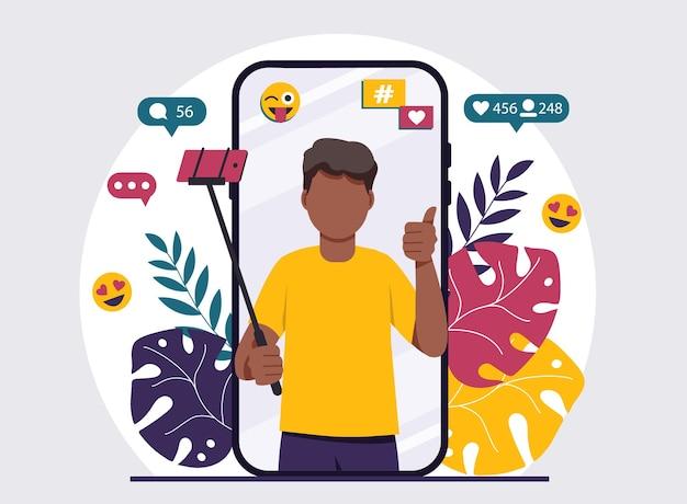 Iscriviti al blogging in linea di blogger maschio afroamericano concetto di illustrazione design piatto