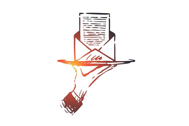 Iscriviti, newsletter, posta, internet, concetto di comunicazione. schizzo di concetto di busta lettera disegnata a mano.