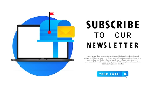 Iscriviti alla nostra newsletter banner o modulo di iscrizione con busta, segno di posta elettronica, vettore