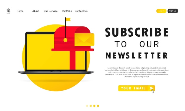 Iscriviti alla nostra newsletter banner. con casella di testo e modello di pulsante di iscrizione.