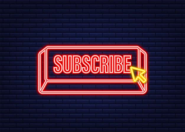 Iscriviti con il pulsante cursore. icona di internet. fare clic sull'icona al neon con il puntatore. illustrazione di riserva di vettore.