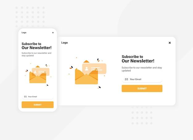 Iscrizione al modello di banner pop-up della newsletter per la versione mobile e desktop
