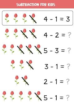 Sottrazione con rosa rossa. gioco di matematica educativo per bambini.