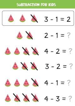 Sottrazione con fetta di anguria. gioco di matematica educativo per bambini.