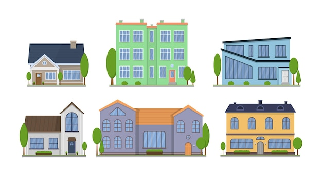 Case americane suburbane vista frontale design piatto esterno con tetto e alcuni alberi. appartamento in villetta a schiera.