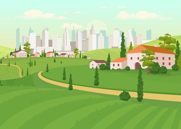Illustrazione di colore piatto area suburbana
