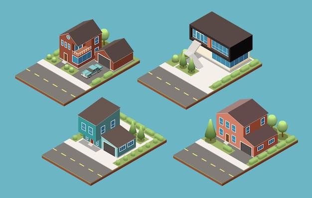 Set di edifici suburbani