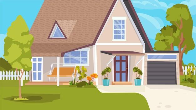 Casa suburbana che costruisce il concetto esterno nel design piatto del fumetto. casa indipendente con garage, prato verde e alberi. chalet al villaggio, immobile rurale. sfondo orizzontale illustrazione vettoriale