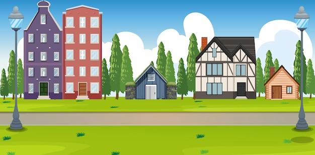 Paesaggio suburbano con molte case