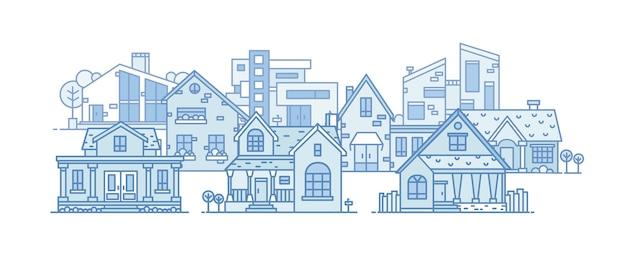 Paesaggio suburbano con vari edifici della città costruiti in uno stile architettonico diverso. paesaggio urbano con case residenziali Vettore Premium