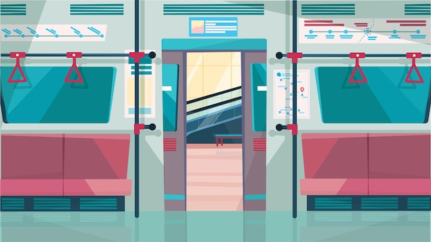 Interno dell'auto della metropolitana con il concetto di porta aperta nel design piatto del fumetto. salone della metropolitana con sedili e corrimano per i passeggeri. trasporto pubblico urbano moderno. sfondo orizzontale illustrazione vettoriale