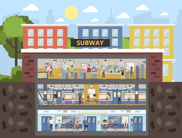 Interno della metropolitana con treno e ferrovia. passeggeri che acquistano biglietti, aspettano il trasporto e siedono sul treno. vector piatta illustrazione
