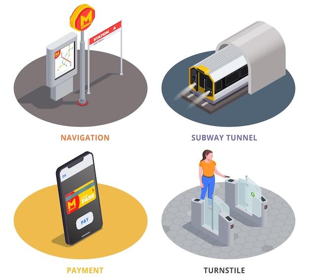 Set di illustrazioni isometriche colorate per temi della metropolitana
