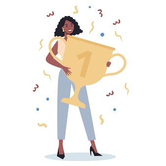 Successo donna d'affari. vincere in competizione. ottenere ricompense o premi per il successo. obiettivo, ispirazione, duro lavoro e risultato. persona con coppa trofeo d'oro.