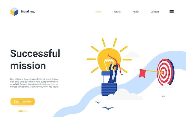 Pagina di destinazione della missione di successo