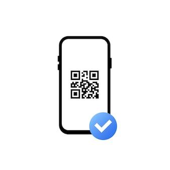 Pagamento riuscito con codice a barre. scansione del codice qr. il cellulare esegue la scansione del codice qr. leggi codice a barre, codifica. riconoscimento icone o lettura codice qr. illustrazione vettoriale moderna di tendenza in stile piatto