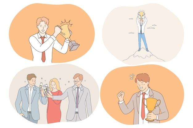 Successo, accordo, affari, celebrazione, leadership, concetto di lavoro di squadra. felice giovani imprenditori