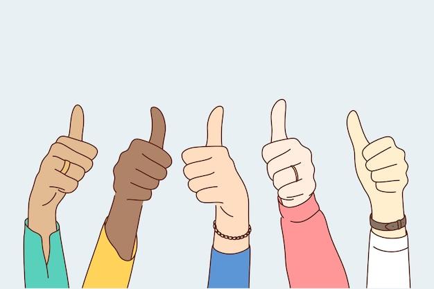 Concetto di multietnicità raggiungimento obiettivo di approvazione di successo.
