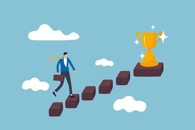 Successo negli affari, opportunità di carriera o crescita aziendale per raggiungere il concetto di obiettivo