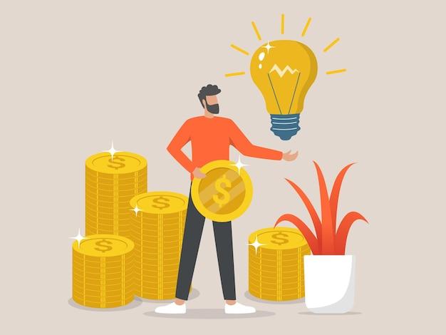 L'uomo d'affari di successo ha un'idea con una moneta d'oro in mano Vettore Premium
