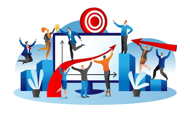 Successo negli affari, lavoro di squadra e gruppo di businessen di successo che celebra, piatto