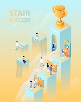 Concetto di successo in vista isometrica, persone che salgono le scale per il trofeo