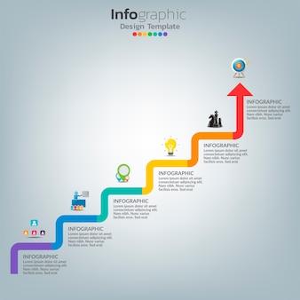 Modello infographic di successo con la costruzione di gradino della scala.