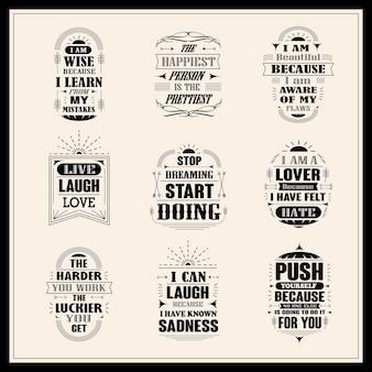 Set di citazioni motivazionali e ispiratrici di successo isolate su sfondo beige
