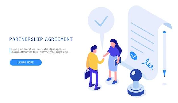 Accordo di partnership di successo. donna e uomo che terminano un accordo di affari di successo. banner web vettoriale isometrica.