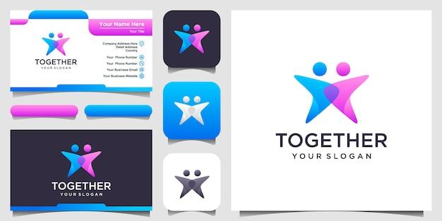 Ispirazione per il design del logo del lavoro aziendale delle persone di successo. icona e biglietto da visita