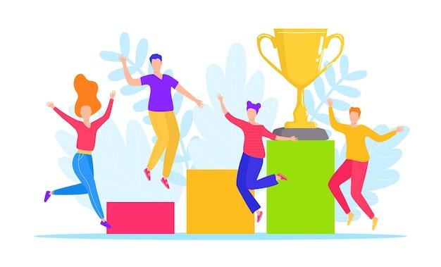 Le persone di successo vincono il trofeo