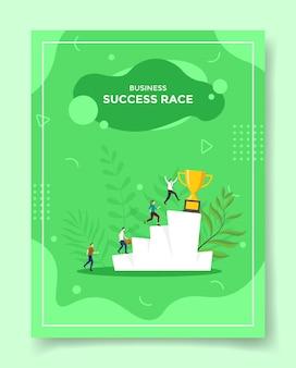 Concetto di affari di corsa di successo per modello di volantino