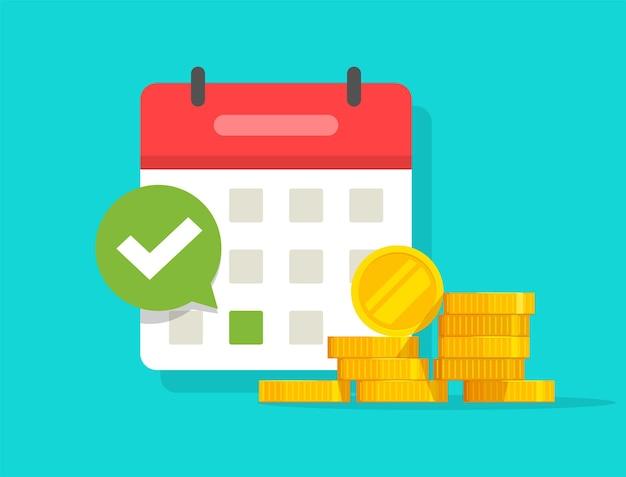 Agenda del programma di pagamento delle tasse automatico o ricorrente del pagamento dello stipendio di successo eseguita sul calendario e segno di spunta