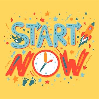 Segreto del successo: inizia ora. slogan di motivazione e ispirazione. ispira poster per startup, progetti aziendali e risultati sportivi. vettore