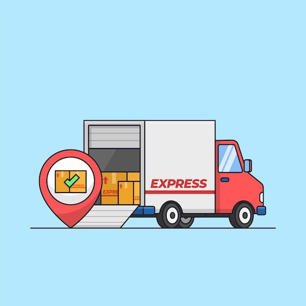 Trasporto di successo sul luogo di consegna camion a pieno carico con illustrazione vettoriale della scatola del pacchetto