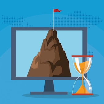 Il successo avvia la montagna del computer di affari con la clessidra della bandiera