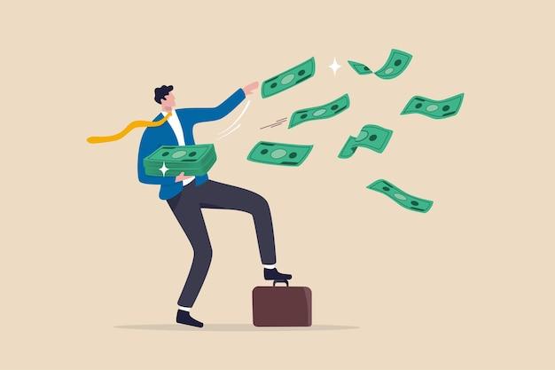 Successo e ricco imprenditore fortunato, profitto e guadagno da investimento, concetto di politica monetaria di stimolo della fed, milionario d'affari felice buttare fuori mucchio di banconote di denaro che volano in aria.