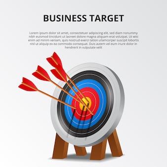 Freccia di tiro con l'arco di successo sul modello di scheda di destinazione 3d