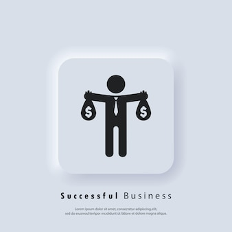 Icona di affari di successo. marchio dell'uomo d'affari. l'uomo d'affari serve. vettore. icona dell'interfaccia utente. pulsante web dell'interfaccia utente bianco neumorphic ui ux. neumorfismo