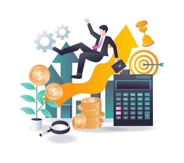 Investimento aziendale di successo in design piatto