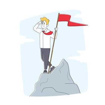 Carattere di uomo d'affari di successo con bandiera rossa in mano stare in cima ad alta roccia, raggiungimento degli obiettivi, profitto finanziario, ricchezza