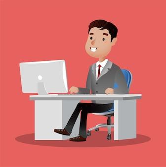 Carattere di persone d'affari di successo che lavora su un computer portatile alla scrivania illustrazione di concetto di affari