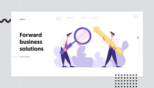 Business di successo con uomo d'affari che tiene in aumento la grande freccia concetto landing page set