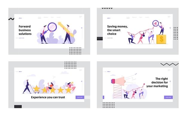 Business di successo con uomini d'affari concetto landing page set