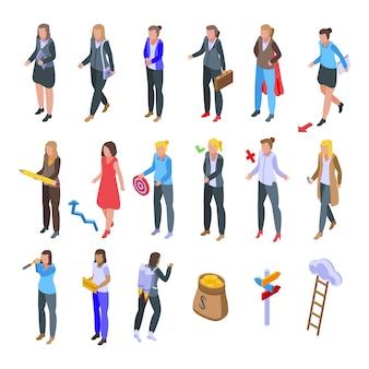 Set di icone di donna d'affari di successo. insieme isometrico delle icone della donna di affari di successo per il web isolato su priorità bassa bianca