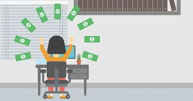 Donna d'affari di successo sotto la pioggia di denaro.