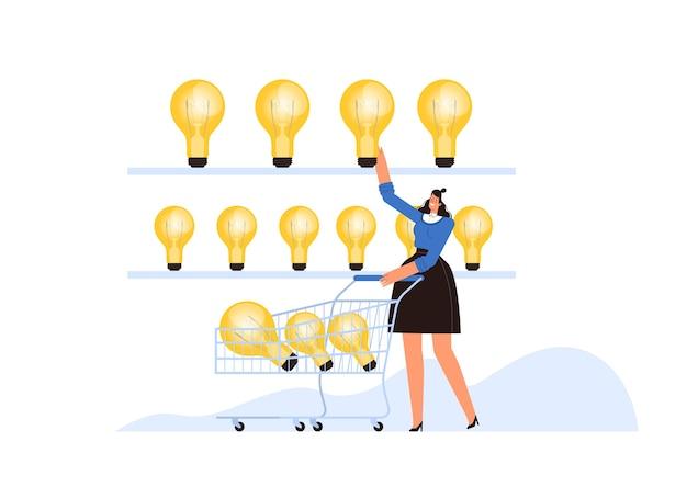 La donna d'affari di successo mette le idee nel suo carrello. il concetto di acquisire nuove idee di business. piatto del fumetto. isolato su uno sfondo bianco.