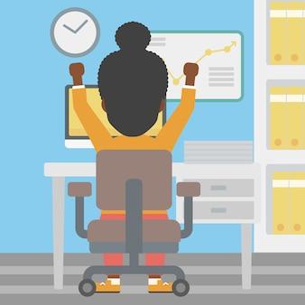 Illustrazione vettoriale di successo donna d'affari.