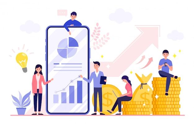 Le aziende di successo crescono e generano enormi profitti finanziari con la strategia e l'analisi aziendale con enormi pile di monete d'oro e un grande telefono.